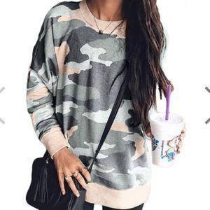 Tops - Women's Camouflage Sweatshirt Top